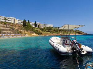 Diving boat and Hotel Beach
