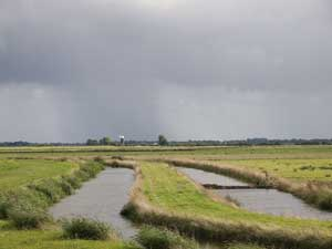 Flood dykes and Upton wind pump - passing shower